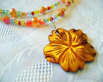 Citrus Tango orange yellow green long pendant necklace