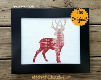 The Original - Pink Deer Silhouette Cross Stitch Pattern, Nursery, Modern Cross Stitch, Forest Cross Stitch, Baby Sampler Cross Stitch, Wood