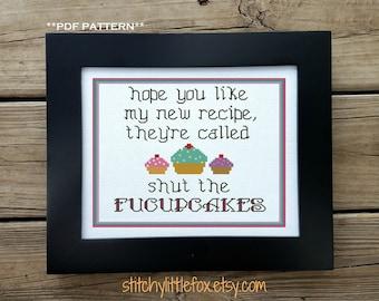 Snarky Cross Stitch Pattern - Funny Cross Stitch - Cupcake Needlepoint - Cross Stitch Modern - Subversive Cross Stitch Chart - Cute XStitch