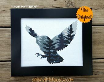The Original - Owl Cross Stitch Pattern, Nighttime Animal, Forest Cross Stitch Chart, Bird Cross Stitch, Forest Silhouette Pattern PDF