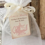 Tea Party Bags, Organza Bags and Tag,  Personalized Pink Teapot Set of 10