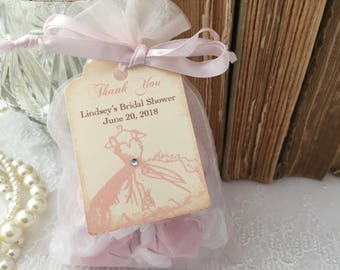 bridal shower favor bags organza bags and dress tags pink blush set of 10 personalized bridal shower