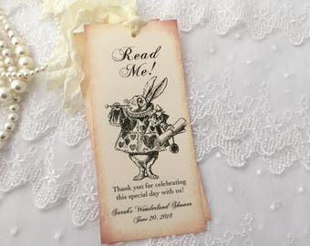 white rabbit bookmarks read me alice in wonderland bookmarks baby shower bridal shower birthday set of 10