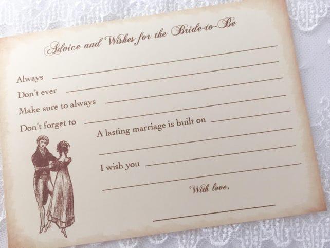 Jane Austen Advice Cards, Jane Bridal Shower Advice Cards, Jane Wishes, Pride and Prejudice, Set of 10