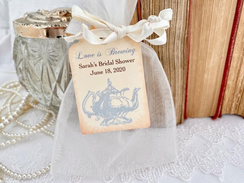 Tea Party Favor Set Organza Bags and Teapot Tags Blush Pink Set of 10