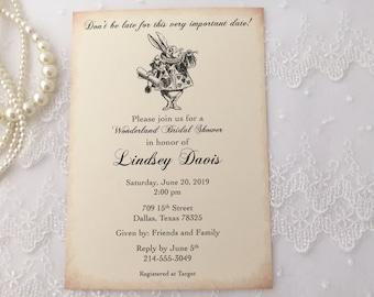 White Rabbit Invitations, White Rabbit Invites, White Rabbit Bridal Invitations, White Rabbit Bridal Shower Invitations, Set of 10