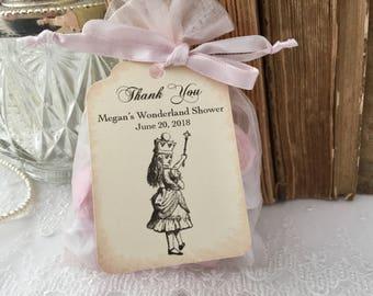 Alice in Wonderland Baby Shower Favor Bags, Alice Baby Shower Bags, Organza Bags and Tags, Set of 10
