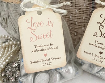 Love is Sweet Bridal Shower Favor Bags, Bridal Shower Treat Candy Bags, Organza Bags and Tags