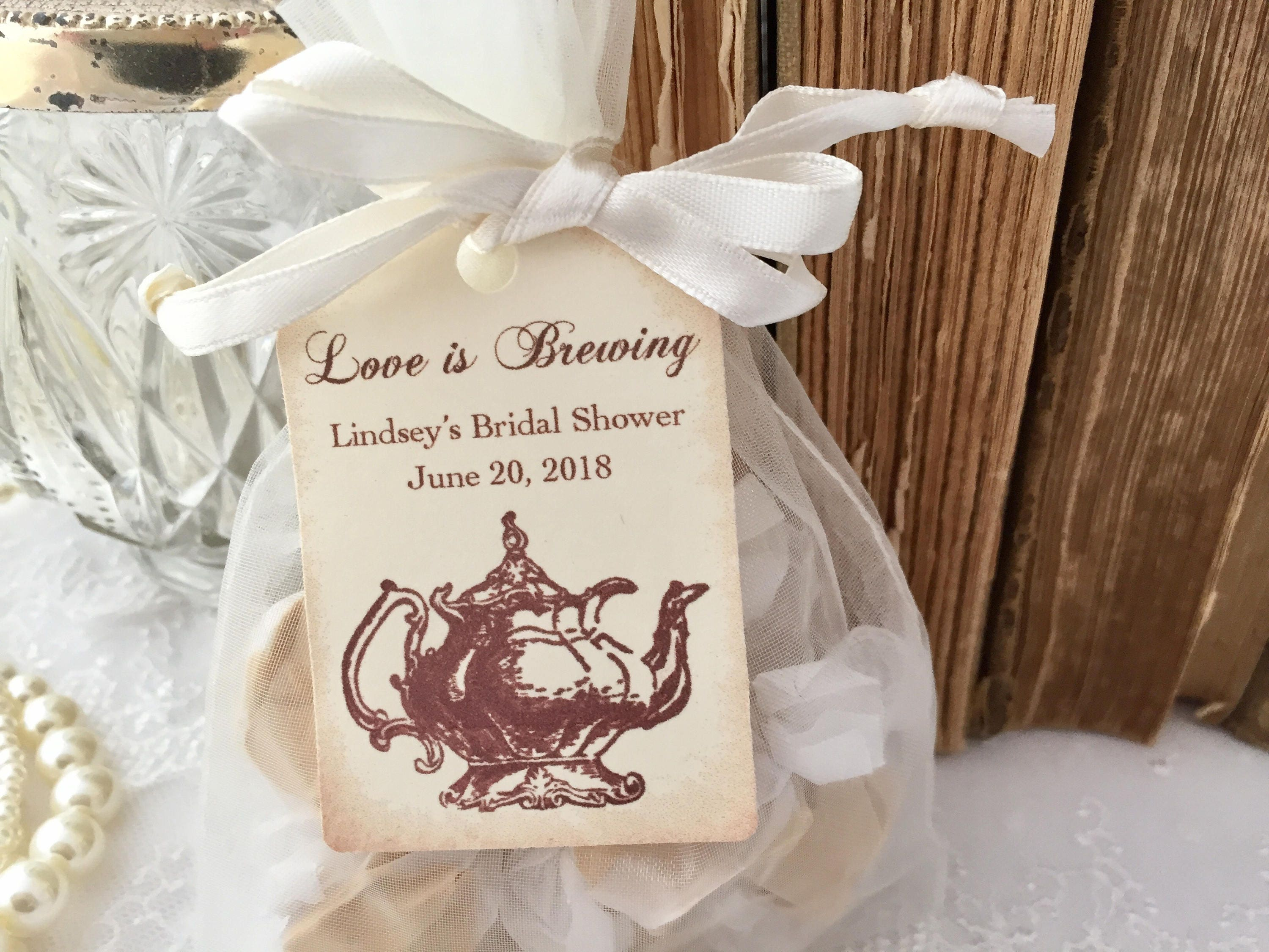 Tea Party Favor bags Organza Bags and Teapot Love is Brewing