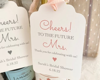 Cheers to the future Mrs. Tags, Bridal Shower Champagne Tags, Bridal Shower Wine Tags, Printed