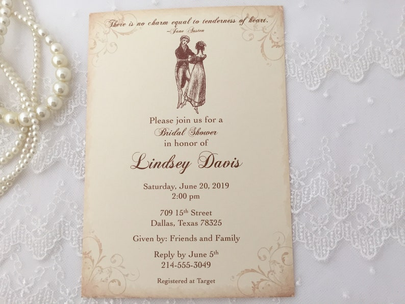 42aa2c3460e8 Jane Austen Invitations Jane Austen Bridal Shower Invites