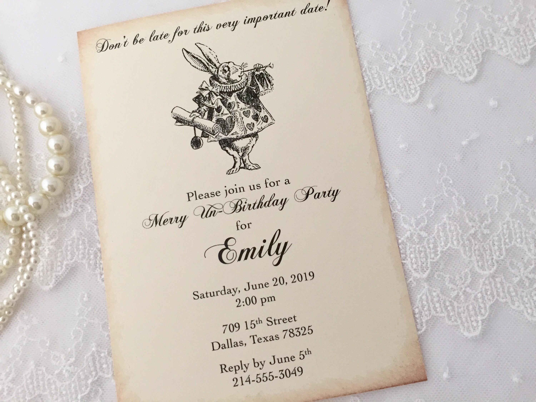 White Rabbit Birthday Invitations White Rabbit Birthday Etsy
