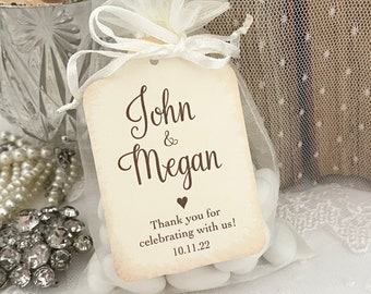 Personalized Wedding Favors Bags, Husband and Wife Favor Bags, Bride and Groom Favor Bags, Printed Name and Date Favors