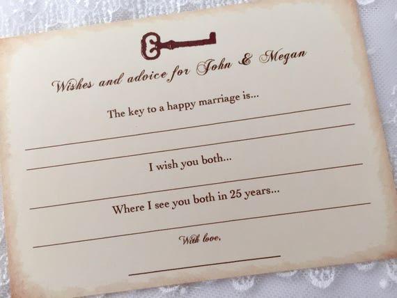 Key Advice Cards, Skeleton Key Advice Wish Cards, Wedding Key Wish Cards, Set of 10
