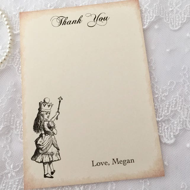 Alice Baby Shower Thank You Cards, Wonderland Baby Shower Cards, Baby Thank You Cards, Set of 10