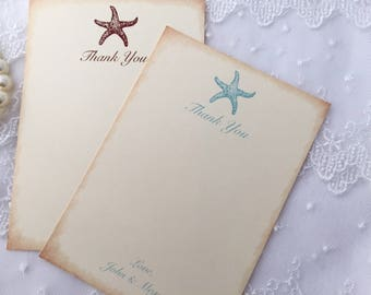 Starfish Thank You Cards, Beach Thank You Cards, Wedding Thank You Cards, Set of 10