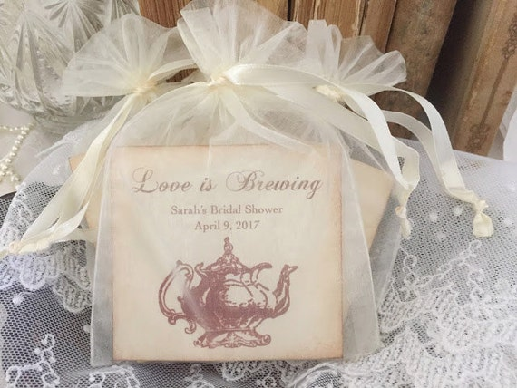 Tea Bag Favors Fully Assembled with Personalized Card Set of | Etsy