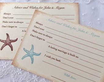 Starfish Wish Cards, Starfish Wedding Wish Cards, Beach Advice Cards, Set of 10
