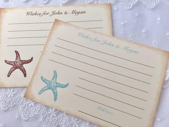 Starfish Wish Cards, Beach Wish Cards, Beach Wedding Wishes, Set of 10