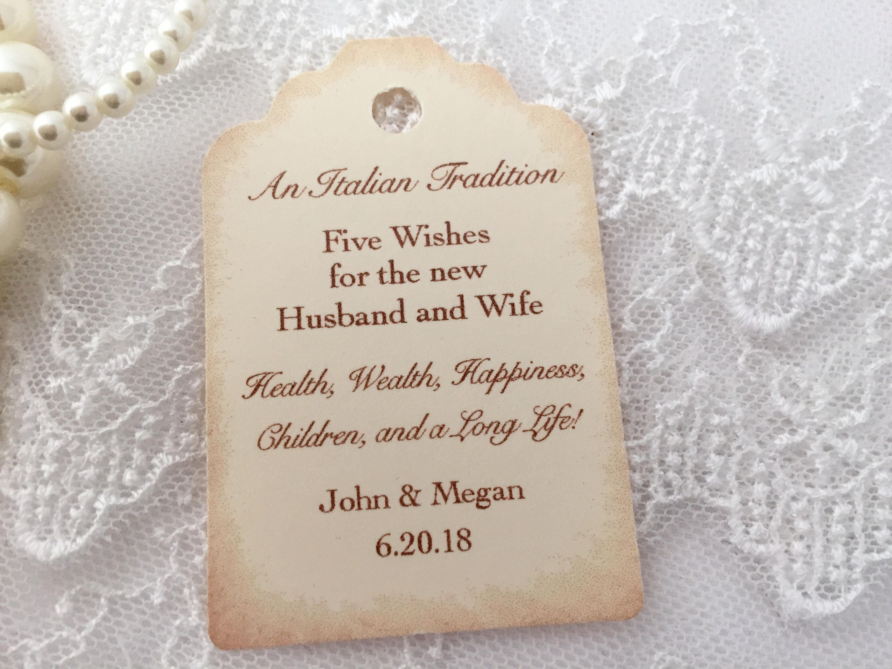 Jordan Almond Tags Almond Favor Tags Wedding Almond Tags