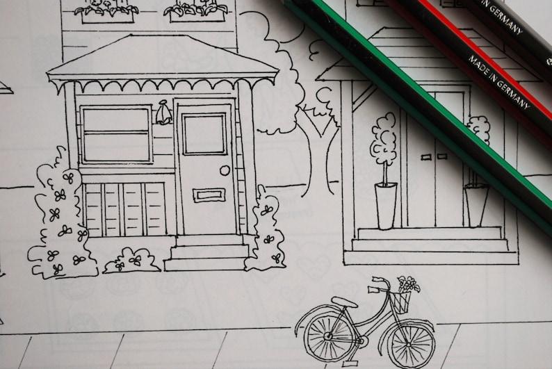 Kleurplaten Van Huizen : Home sweet home rij huizen volwassen kleurplaat eenzaamheid etsy