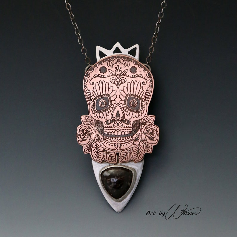 8121d6fbc Day of the dead sugar skull pendant skull and roses dia de | Etsy