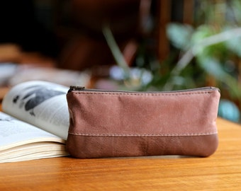 Waxed Canvas and Leather Pencil Pouch in Saddle Brown