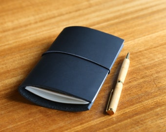 Refillable Black Leather Notebook with Lined Pocket Moleskine