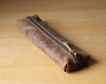 Leather Pencil Case // Zipper Pouch