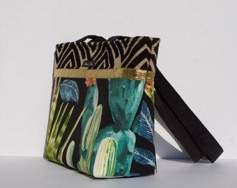Hot Days Cool Nights medium Maris Rae shoulder handbag Cactus/succulent black and white polka dots magnetic snap closure tribal geometric