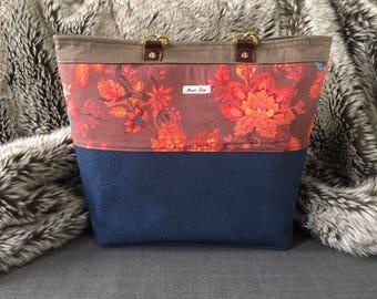 Vienna XL Tote Maris Rae Handbag/ Tote/ red/ brown/ floral/ blue navy/ gold/tan/ pockets/ by maris rae handbags