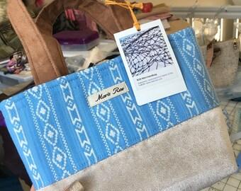 Maris Rae Mini Landing Net Yukon inspired handbag by maris rae handbags geometric print blue grey silver upholstery texture bag