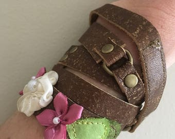 Genuine leather soft wrap bracelet brown with floral accents by Maris Rae Handbags