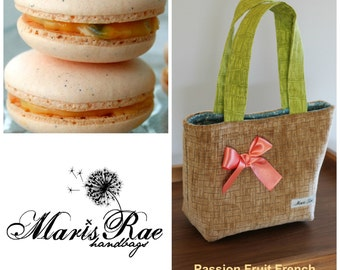 Mini PASSION FRUIT French MACARON handbag sturdy tote bag pockets/ minimalist/ tan/ melon/ green/ blue/ by maris rae handbags