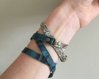Genuine leather soft wrap bracelet turquoise and tan by Maris Rae Handbags
