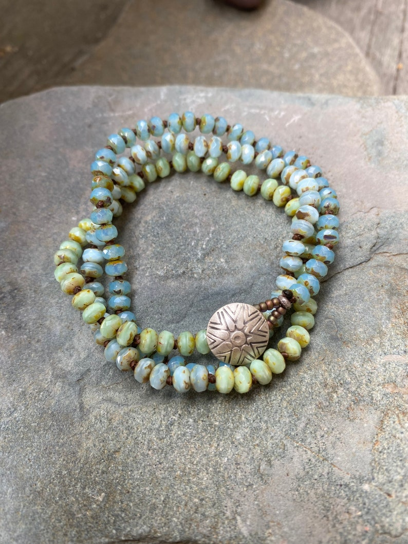 Soothing Blues and Green Wrap Bracelet