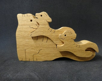 Wooden Tiger Puzzle Toys - Mama and Cubs