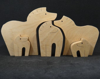 Wooden Horse Family Puzzle Toys