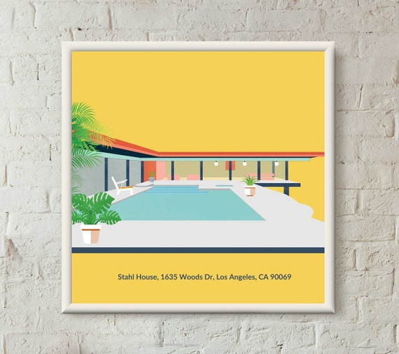 Stahl House Case Study House Architecture Illustration Etsy - Stahl-house-a-modern-residence-in-los-angeles