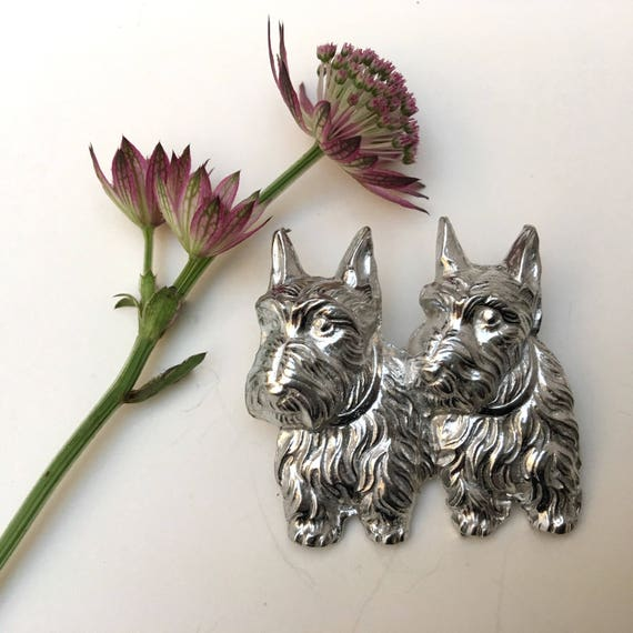 Gift bag New item /'ART DECO LADY WITH SCOTTISH TERRIERS/' Brooch