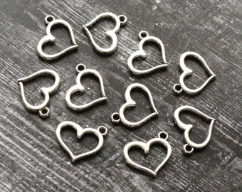 10 Heart Charms Antiqued Bronze Miniature Heart Charms BULK Charms Lot