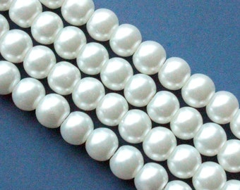 Craft Supplies GLPB9073 Faux Imitation Pearls Beads Beads 1 x 32 Strand 8mm Silver Glass Pearls UK Seller Approx. 105 Beads