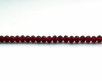 130 Pieces, 3mm Dark Red Rondelles, 3mm Black Cherry Crystal Rondelle Beads, 3mm Dark Red Crystal Beads (CBD0064)
