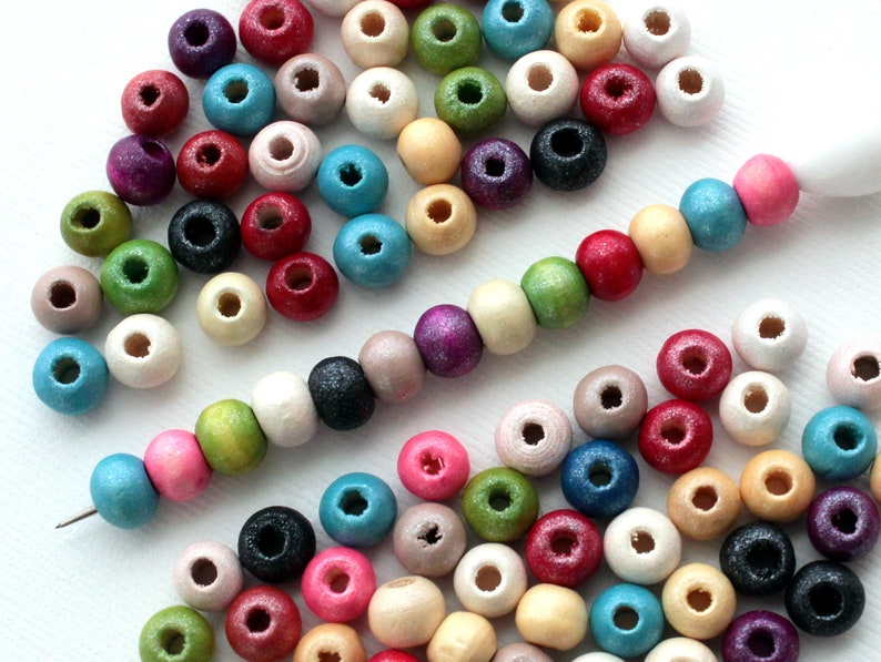 300 Pieces 6mm Rainbow Pearl Wooden Beads Assorted Colors  image 0