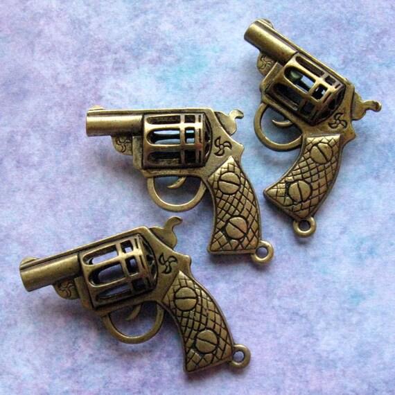 Dark Silver Revolver Charm SC0061 Lead Free 3 Pieces Gun Pendants 33mm Large Gun Charms Nickle Free Large Gunmetal Finish