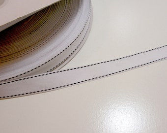 double sided 2 or 50 metres 4mm woven ribbon with centre  middle stitch
