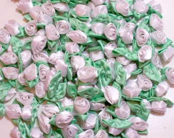 10 x Small Satin Ribbon Roses white