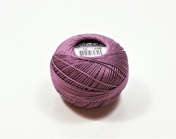 Lizbeth Cotton Crochet Thread Choose a Size 10 or 40 Medium Antique Violet Color number 640 Purple Tatting Thread