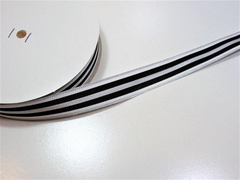 Striped Ribbon Schiff Ribbon Black White and Metallic Silver Stripe Grosgrain Ribbon 78 inches wide x 10 yards
