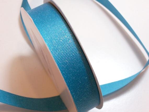 Ruban bleu, Turquoise Bleu paillettes ruban gros-grain 7/8 pouce de large x 25 yards, ruban de gros-grain Offray Glitter